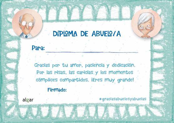 Diploma a los mejores abuelos Rocio Bonilla Algar Editorial